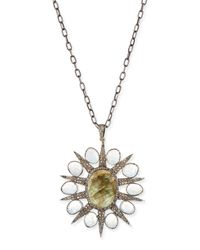 Siena Jewelry | Metallic Labradorite & Diamond Starburst Necklace | Lyst