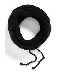 Bickley + Mitchell Black Cable Knit Drawstring Snood for men