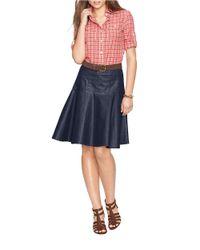 Lauren by Ralph Lauren | Blue Coated Denim Skirt | Lyst