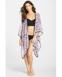 Red Carter | Multicolor Kimono Sleeve Print Chiffon Cover-up | Lyst