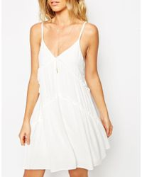 ASOS | Natural Sundress With Frill Detail And Tie Sides | Lyst