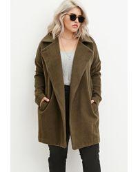 Forever 21 Green Plus Size Longline Textured Dolman Coat