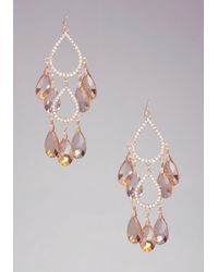 Bebe Metallic Faceted Chandelier Earrings