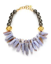 Nest | Metallic Blue Lace Agate & Pyrite Beaded Spike Bib Necklace | Lyst