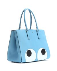 Anya Hindmarch Blue Ebury Large Featherweight Big Eyes Leather Tote