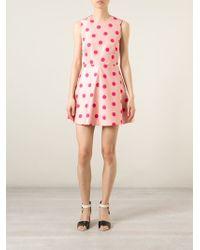 RED Valentino - Pink Flared Polka Dot Dress - Lyst
