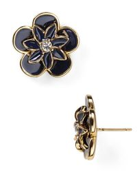 kate spade new york | Blue Graceful Floral Large Stud Earrings | Lyst