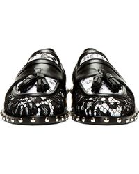 Givenchy Black and White Lace Studded Loafers