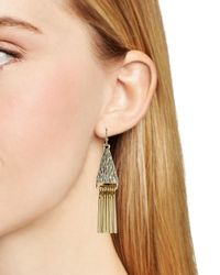 Aqua | Metallic Ruth Triangle Fringe Earrings | Lyst