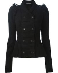 Alexander McQueen - Black Double-Breasted Fringed Jacket  - Lyst