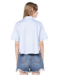 Alexander Wang - Blue Cropped Short Sleeve Shirt - Lyst