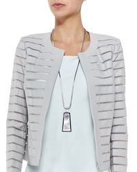 Lafayette 148 New York - Gray Long Mirror Pendant Necklace - Lyst