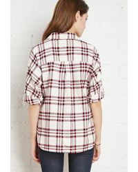 Forever 21 - Red Buttoned Plaid Flannel Shirt You've Been Added To The Waitlist - Lyst