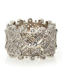 Judith Ripka | Metallic Deco Estate Diamond Wide Band Ring | Lyst