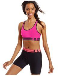 Under Armour | Pink Heatgear® Sports Bra | Lyst