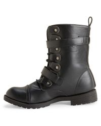 Aéropostale | Black Faux Leather Buckled Combat Boot | Lyst