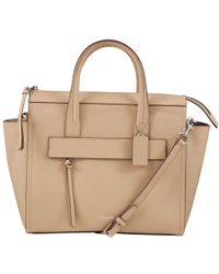 COACH Natural Bleeker Riley Saffiano Leather Carryall Tote Bag