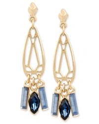 Kenneth Cole | Gold-tone Blue Crystal Cut-out Drop Earrings | Lyst