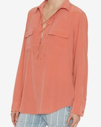 Equipment - Red Lace Up Blouse - Lyst