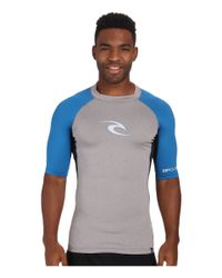 Rip Curl | Gray Wave Short Sleeve Rashguard for Men | Lyst