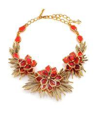 Oscar de la Renta Red Wildflower Statement Necklace
