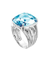 John Hardy - Metallic Large Bamboo Silver Ring with Octagon Sky Blue Topaz for Men - Lyst
