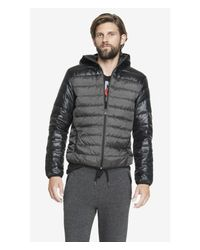 Express Black Tech Water Resistant Down Puffer Jacket for men