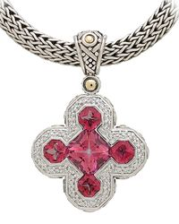 John Hardy - Metallic Batu Sari Mystic Pink Topaz Cross Pendant Enhancer - Lyst
