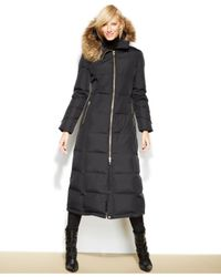 Calvin Klein Brown Hooded Faux-fur-trim Down Puffer Maxi Coat