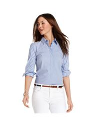 Tommy Hilfiger - Blue Long Sleeve Striped Button Down Shirt - Lyst