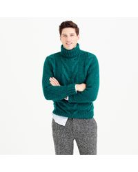 J.Crew | Blue Italian Wool Cable Turtleneck Sweater for Men | Lyst