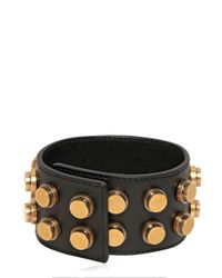 Saint Laurent | Metallic Studded Leather Large Cuff Bracelet | Lyst