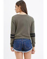 Forever 21 - Green Varsity-stripe Sweatshirt - Lyst