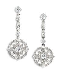Nadri - Metallic Crystal Linear Drop Earrings - Lyst