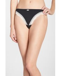 Felina | Black 'inviting' Lace Trim Thong | Lyst