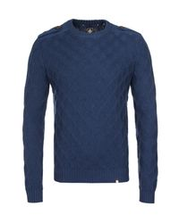 Pretty Green Blue Cable Knit Crew Neck Navy Jumper for men