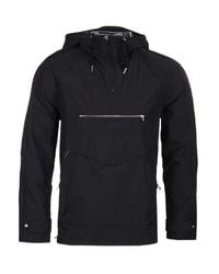 Pretty Green Black Water Resistant Overhead Hooded Jacket for men