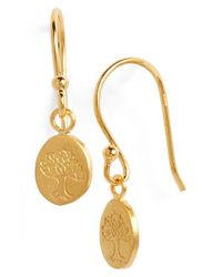 Satya Jewelry | Metallic 'bodhi' Engraved Drop Earrings | Lyst