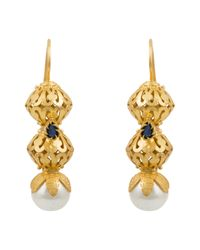 Kastur Jewels | Metallic Heritage Pearl & Blue Lapis Earrings | Lyst