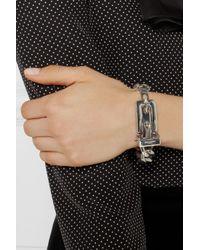 Saint Laurent - Metallic Buckled Sterling Silver Bracelet - Lyst