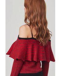 BB Dakota Red Debeney Ruffle Sweater