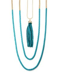ABS By Allen Schwartz | Blue Nested Three Row Pendant Necklace- 40 In | Lyst