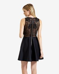 Ted Baker | Black Lace Detail Skater Dress | Lyst