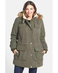 DKNY Green Faux Fur Trim Down & Feather Parka