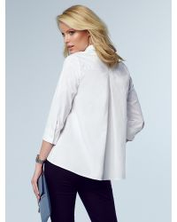 Pure Collection White Curved Hem Cotton Shirt