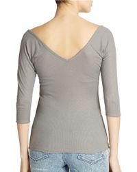 Guess | Gray Three Quarter Sleeve Henley Tee | Lyst
