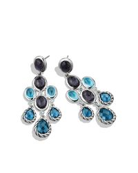 David Yurman | Color Classic Chandelier Earrings With Hampton Blue Topaz, Black Orchid And Gray Sapphires | Lyst