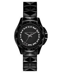 Karl Lagerfeld - Black '7' Faceted Bezel Bracelet Watch - Lyst