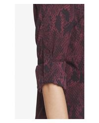 Express Purple Berry Snakeskin Convertible Sleeve Portofino Shirt