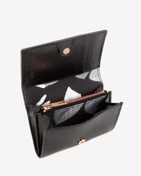 Ted Baker Black Small Crosshatch Leather Wallet